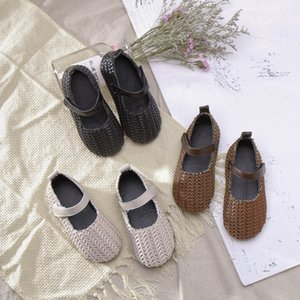 Children Shoes Woven Girls Sandals Cute Baby Casual Shoes Cool Breathable Leather Kids Princess Hook Loop Girl Flats