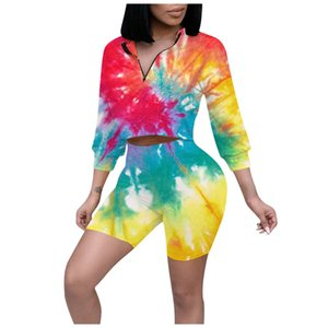 Women 2 Piece Summer Sets Fashion Tie-die Print Tracksuit Sexy V-neck Zipper Long Sleeve Tops+bike Sports Shorts Set Outfits