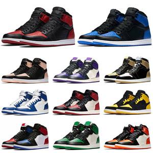 Nike Air Jordan 1 prohibido mujeres de los hombres zapatos de baloncesto de alto OG azul real del oro de Nueva Chicago Amor carmesí Tinte Sport zapatillas de deporte de diseño