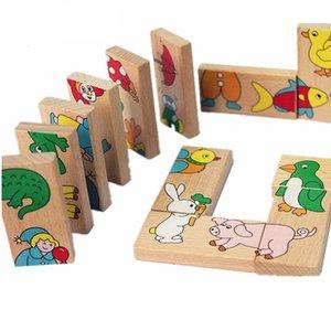 Çocuklar için Tuğla Oyuncaklar 15pcs Hayvan Domino Bulmacalar Montessori Öğrenme Eğitim Ahşap Çocuk Oyuncakları Bulmacalar Seti Oyun