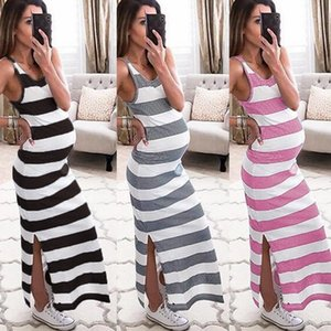 Fashion Pregnant Women Striped Print Dress Breastfeeding Beach Skirt Ladies Pregnant Women Sleeveless Striped Strap Dress 2020