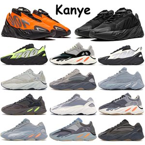 2020 Kanye 700 Carbon bleu sarcelle inertie Chaussures de course coureur de vague Vanta Femmes Hommes solide gris statiques formateurs Stockx
