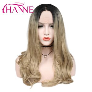 Hair Synthetic Lace Front Wigs(For White) HANNE Brown Blonde Ombre Wig Long Wavy Heat Resistant Fiber Synthetic Hair Wig Lace Front Wigs