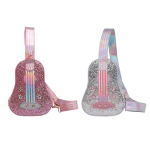Мода Блестки Rhinestone мешок плеча женщины гитары Shaped Блеск Zipper Crossbody Коммуникатор Sling Кошелек