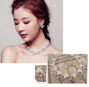 2019 Edición europea, americana y coreana Collar nupcial de joyería Pendientes de perlas de mujer Conjunto Vestido de diamante Accesorios de ropa de boda