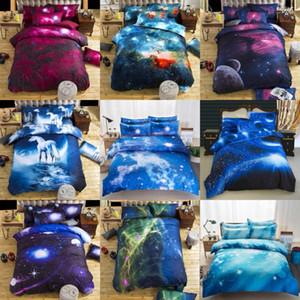 3D Galaxy Bedding Sets Starry Sky Duvet Cover fronha folha plana para crianças tamanho Home Textiles Lençóis Individual completa