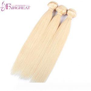 pelucas 613 Blonde Straight Human Hair 3Bundles Brazilian Blonde Straight Human Hair Weave Unprocessed Top Quality 613 Color Brazil