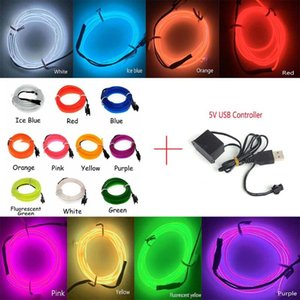 Car Decoration With DC 5V USB Adapter Wire With 6mm Sewing Edge Flexible Neon Lamp Glow Rope Tube Cable LED Strip Light