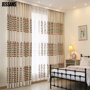 Modern Linen Embroidered Sheer Curtain Cloth for Bedroom Living Room Kitchen Window Curtains