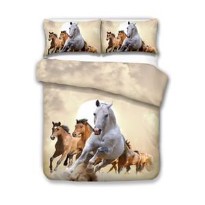 Literie couette animaux Horse Cover Avec Pillowcases lits jumeaux Double King Size La pleine Reine