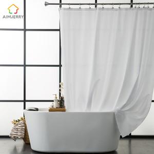 새로운 디자인 Aimjerry 방수 폴리 에스테르 직물 욕실 화이트 샤워 커튼 친환경 런던 커튼 71 * 71 인치 12 개 후크 2018