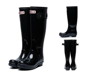 Women RAINBOOTS fashion Knee-high tall rain boots England style waterproof welly boots Rubber rainboots water shoes rainshoes