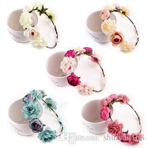 Bohemian Flower Crown Headbands Wedding Wreath Bridal Headdress Hairband Hair Band Accessories for Women Lady 6 Colors Christmas Gift