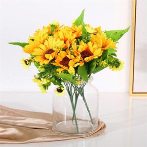 Simulada ambiente doméstico decoração com flores girassol girassol festa de casamento falsificação flor adereços fotografia T3I5803 girassol artificial
