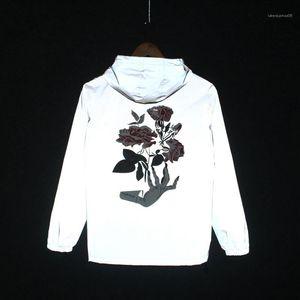 Frühling 2020 Mens 3M Reflektierende Jacken Rose Blume gedruckt Hihop Windjacke mit Kapuze Herbst