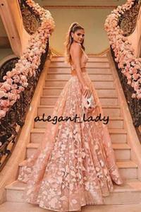 Princesa Halter Backless blush rosa Renda Vestidos Prom Two Piece Applique Sexy V-neck Spaghetti Júnior Baile Vestido de Noite