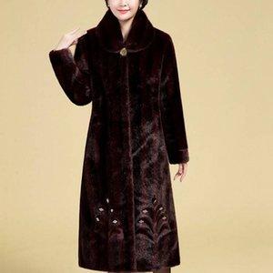 Alta costura Mulheres casaco grandes tamanhos Casacos longos de peles de inverno Roupas de meia-idade Casaco de pele de vison de imitação da Mulher artificial