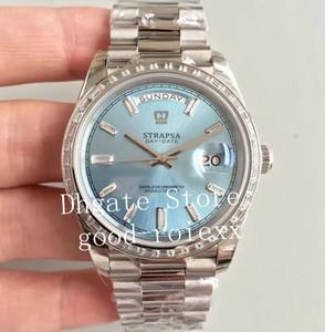 Dia Data de relógios para homens azul de prata preto retângulo Diamante EW Fábrica automática Cal.3255 Assista Homens Crown 228396TBR Presidente suíços ETA