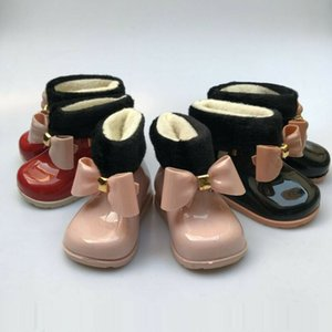 Baby Girls PVC Rain Boot Bowknot Winter Fur Lined Ankle Wellies Water Boots Cartoon Snow Boot Non-slip Waterproof Jelly Shoes EUR Size 19-31