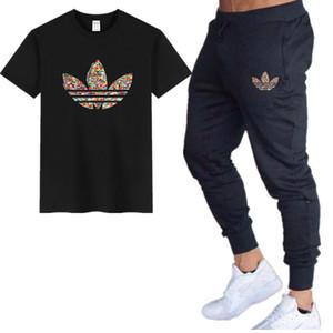 2019 été hommes t-shirt ensembles + pantalons ensembles deux pièces décontractée t-shirt joggeurs pantalons skinny gymnases fitness pantalons de survêtement hommes ensemble