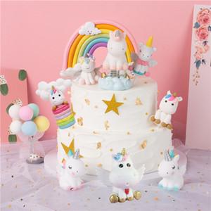 Unicorn Kek Topper Doğum Düğün Pastası Bayraklar Sıcak Hava Balonu Bulut doğum günü partisi Pişirme Dekorasyon Malzemeleri