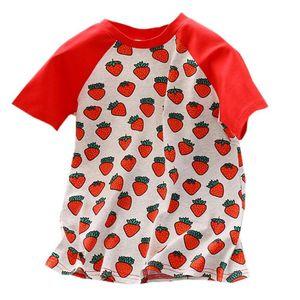 Summer Baby Girls Strawberry Imprimer manches courtes robes Vêtements F