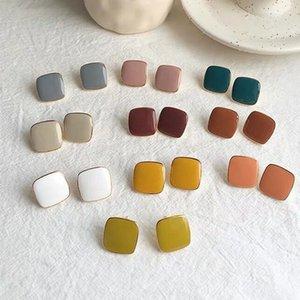 MENGJIQIAO neue nette Weinlese-bunten Emaille-Quadrat-Glasur-Bolzen-Ohrringe für Frauen Fashion Boucle d'oreille Brincos Schmuck