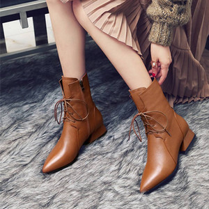 Genuine Leather Brown Pointed Toe Women Ankle Boots Low Heel Square Spring and Autumn Female Ankle Boots
