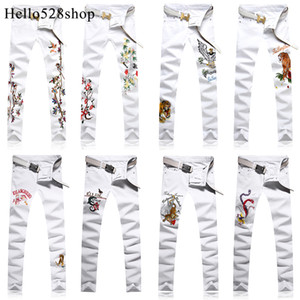 Hello528shop Personality Cotton Men's Embroidered Jeans Slim Pants Youth Chinese Style Straight Trousers Skinny Full Length White