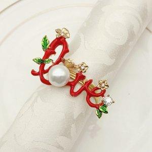 servilletero de oro del árbol de navidad 12pcs nuevo año con diamante de metal y papel amor anillo de servilleta decoraciones copo de nieve para el hogar