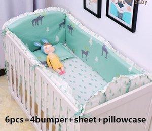 Promotion! 6 9PCS Elk bedding set 100% cotton curtain crib bumper baby cot sets baby bed bumper blanket sheet whole set