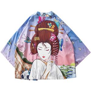 SIFAn 2019 Japanese Kimono Jacket Butterfly Geisha Print Harajuku Hip Hop Men Japan Style Streetwear Jackets Summer Thin Clothes Loose