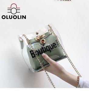 Мода водонепроницаемый Креста тела плеча мешки Jelly мешок Письмо печатных Новый Стиль ПВХ Прозрачная сумка двухслойный Long Chain