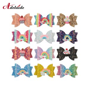 Girls Headwear 3inch Sequined Rainbow Bow Hair Clip Unicorn Hair Bow Girls Princess Hairgrips for Kids Party Accessories
