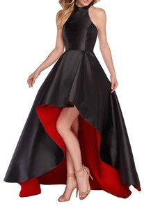 Halter High Low Homecoming Dresses Satin Two Tone Front Short Long Back Celebrity Prom Dress Sweet 16 Party Dress Country Bridesmaid Dress