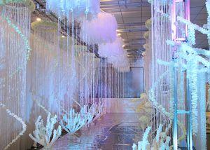 Luxury acrylic chandelier crystal flower stand crystal beaded wedding aisle pillar for weddings decor senyu0115