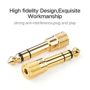 DHL Free Shipping 100pcs 3.5mm Socket to 6.5mm male Jack Plug Audio Stereo Adaptor Gold Headphone Adapter