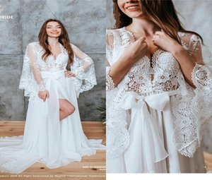 2020 Sexy V-neck Long Sleeve Wedding Dresses Appliqued Lace Pajamas Housewear Elegant Chiffon Sweep Train Custom Made Bridal Gown