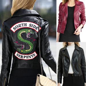 Giacche in pelle Riverdale da donna Giubbotto bomber da moto invernale slim Cappotti Serpenti lato sud stampati Nero rosso vino