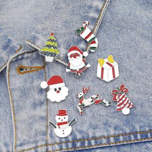 Weihnachtsbaum Vater Weihnachtsbrosche Emaille Legierung Kleidung Pin Cartoon Weihnachtssocken Schneemann Brosche Kleid Zubehör für Party