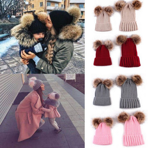 Cute Parent-child Knit Hat Fashion Winter Warm Large Fur Pompon Hat Baby Mom Solid Color Beanie Ski Cap TTA1311