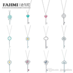 FAHMI encanto del regalo 925 Lollipop en forma de corazón Matching redonda de la joyería geométrica clave Tif joyería Collar de mundo libre del envío
