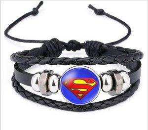Оптовые продажи супер герой значок браслет Капитан Америка Супермен мода Шарм браслеты нейтральный узел браслет ручной работы ювелирные изделия простой brac