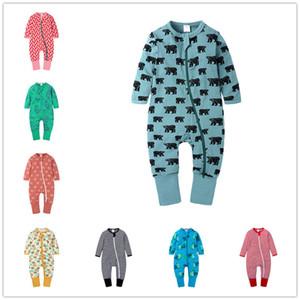2020 봄 가을 아기 Romper 만화 인쇄 소년 소녀 점퍼 유아 신생아 긴 소매 등반 옷을 빌려면 의류 한 벌 E21901