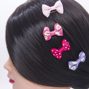 10pcs lot Cute Bow Hair Clips Solid Hairpins Baby Girls Barrettes Small Floral Print Hair Pin Headwear Baby Hair Accessories