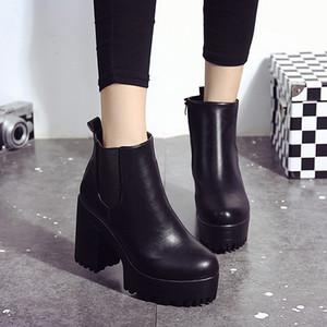 Heißer verkauf-botines mujer frauen stiefel frauen platz ferse plattformen zapatos de mujer leder oberschenkel hohe pumpe stiefel botas schuhe frau