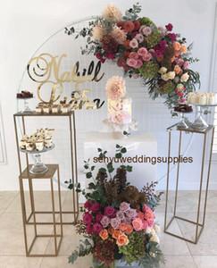 Новый стиль оптовой свадебный десерт стол цилиндр столб золотой современный колонки цветок стенд Свадебные украшения этап senyu0434