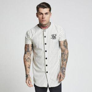 Mode d'été Hommes Streetwear Hip Hop T-shirts Baseball Sik soie brodé Jersey Chemise à rayures Hommes Marque Vêtements