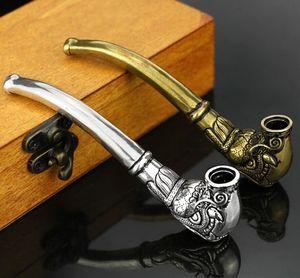 Neueste Vintage Brass Pfeife Bent Tabak Hand Zigarette Silber Filter Metallrohre Drachenkopf Form Röhre Innovative Design Heißer Verkauf
