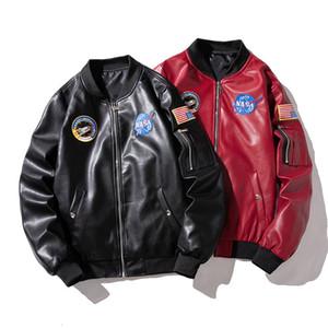 Los hombres de la PU de la chaqueta de cuero de otoño del resorte nuevas de la manera del estilo de los hombres chaqueta de cuero chaqueta de la motocicleta Escudo con 2 colores del tamaño de Asia masculino